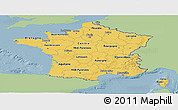 Savanna Style Panoramic Map of France, single color outside