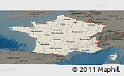 Shaded Relief Panoramic Map of France, darken
