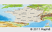 Shaded Relief Panoramic Map of France, physical outside