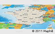 Shaded Relief Panoramic Map of France, political outside, shaded relief sea