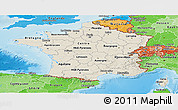 Shaded Relief Panoramic Map of France, political shades outside, shaded relief sea