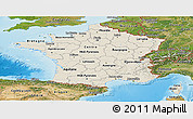 Shaded Relief Panoramic Map of France, satellite outside, shaded relief sea
