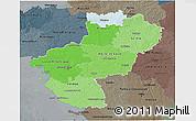 Political Shades 3D Map of Pays-de-la-Loire, darken, semi-desaturated