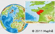 Physical Location Map of Pays-de-la-Loire