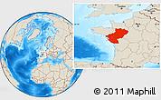 Shaded Relief Location Map of Pays-de-la-Loire