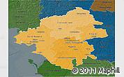 Political Shades 3D Map of Loire-Atlantique, darken
