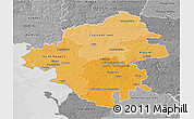 Political Shades 3D Map of Loire-Atlantique, desaturated