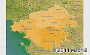 Political Shades 3D Map of Loire-Atlantique, satellite outside