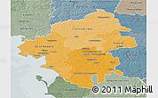 Political Shades 3D Map of Loire-Atlantique, semi-desaturated