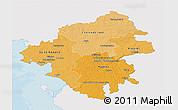 Political Shades 3D Map of Loire-Atlantique, single color outside
