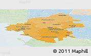 Political Shades Panoramic Map of Loire-Atlantique, lighten