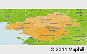 Political Shades Panoramic Map of Loire-Atlantique, physical outside