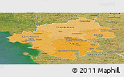 Political Shades Panoramic Map of Loire-Atlantique, satellite outside