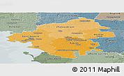 Political Shades Panoramic Map of Loire-Atlantique, semi-desaturated