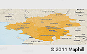 Political Shades Panoramic Map of Loire-Atlantique, shaded relief outside