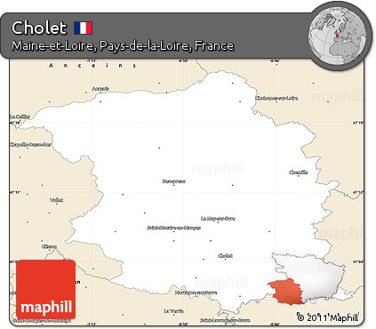 Free Classic Style Simple Map of Cholet
