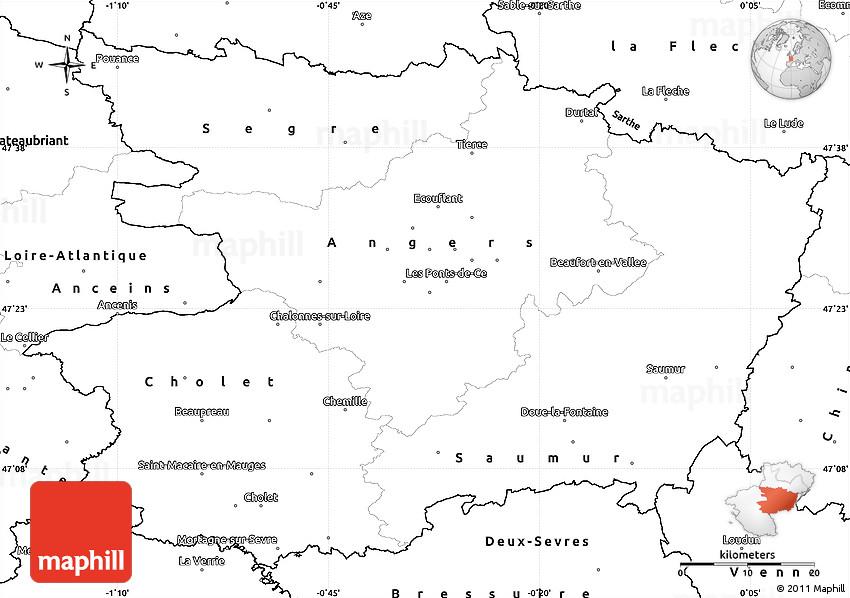 Blank simple map of maine et loire - Chambre des notaires de maine et loire ...