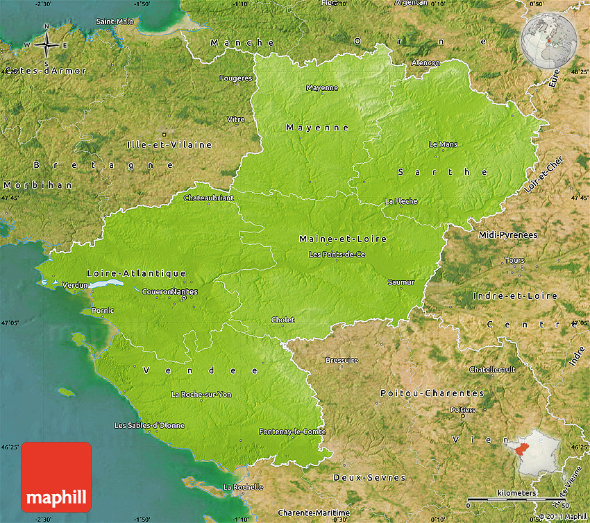 physical map of pays de la loire satellite outside. Black Bedroom Furniture Sets. Home Design Ideas