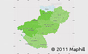 Political Shades Map of Pays-de-la-Loire, cropped outside
