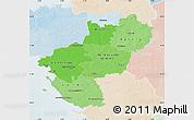 Political Shades Map of Pays-de-la-Loire, lighten