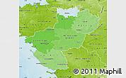 Political Shades Map of Pays-de-la-Loire, physical outside