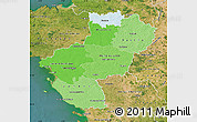 Political Shades Map of Pays-de-la-Loire, satellite outside