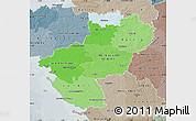 Political Shades Map of Pays-de-la-Loire, semi-desaturated