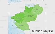 Political Shades Map of Pays-de-la-Loire, single color outside