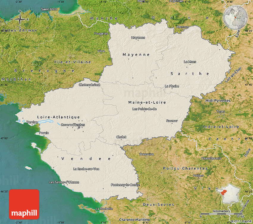 shaded relief map of pays de la loire satellite outside. Black Bedroom Furniture Sets. Home Design Ideas
