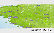 Physical Panoramic Map of Pays-de-la-Loire