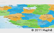 Political Panoramic Map of Pays-de-la-Loire