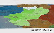 Political Shades Panoramic Map of Pays-de-la-Loire, darken