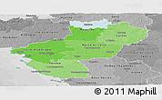 Political Shades Panoramic Map of Pays-de-la-Loire, desaturated