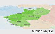 Political Shades Panoramic Map of Pays-de-la-Loire, lighten