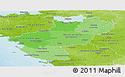 Political Shades Panoramic Map of Pays-de-la-Loire, physical outside