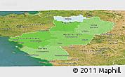 Political Shades Panoramic Map of Pays-de-la-Loire, satellite outside