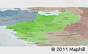 Political Shades Panoramic Map of Pays-de-la-Loire, semi-desaturated