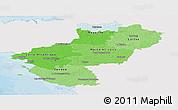 Political Shades Panoramic Map of Pays-de-la-Loire, single color outside