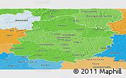 Political Shades Panoramic Map of Sarthe