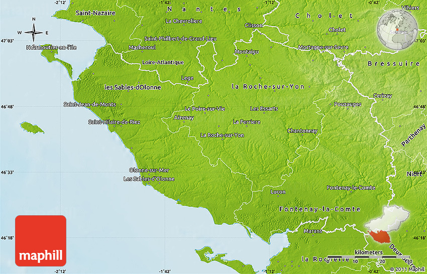 Map Of France Vendee.Physical Map Of Vendee