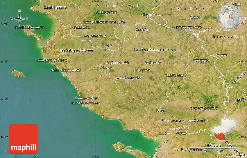 Map Of France Vendee.Satellite Map Of Vendee