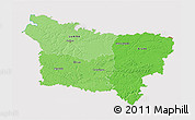 Political Shades 3D Map of Picardie, cropped outside