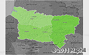 Political Shades 3D Map of Picardie, darken, desaturated