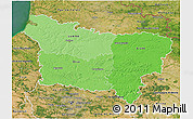 Political Shades 3D Map of Picardie, satellite outside