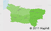 Political Shades 3D Map of Picardie, single color outside