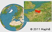 Satellite Location Map of Picardie