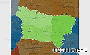 Political Shades Map of Picardie, darken
