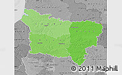 Political Shades Map of Picardie, desaturated