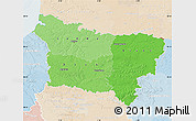 Political Shades Map of Picardie, lighten