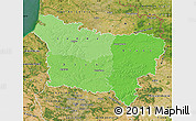 Political Shades Map of Picardie, satellite outside